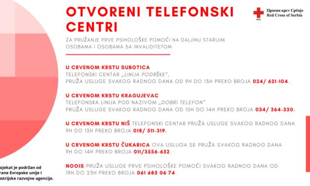 Otvoreni telefonski centri za pružanje prve psihološke pomoći na daljinu starijim osobama i osobama sa invaliditetom