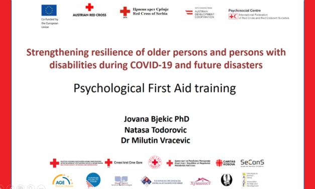 """Obuka iz Psihološke prve pomoći za partnere u projektu """"Jačanje otpornosti starijih osoba i osoba sa invaliditetom tokom COVID-19 i budućih kriza"""""""